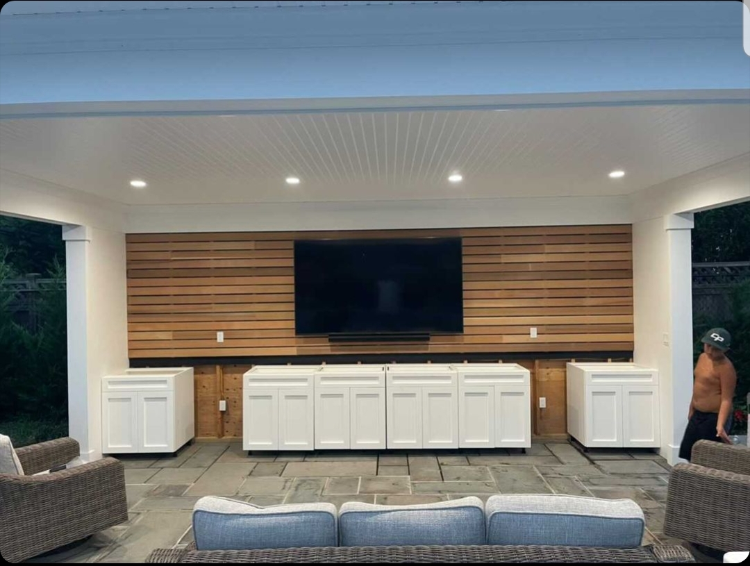 Recessed panel outdoor cabinets