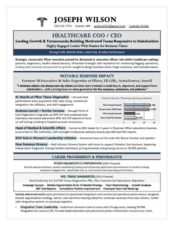 Healthcare Coo Ceo Resume Premium Executive Resume Writing Services