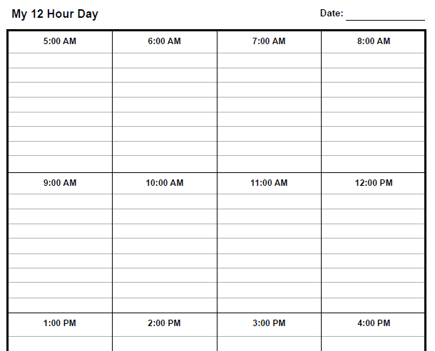 12 Hour Nursing Schedule Template