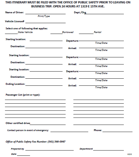 Business Travel Checklist Itinerary Template