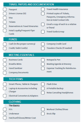 Business Travel Checklist Itinerary
