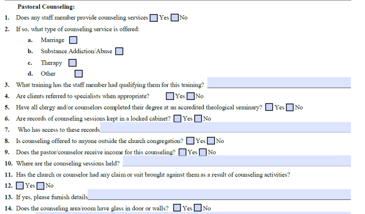 Church Program Supplemental Questionnaire