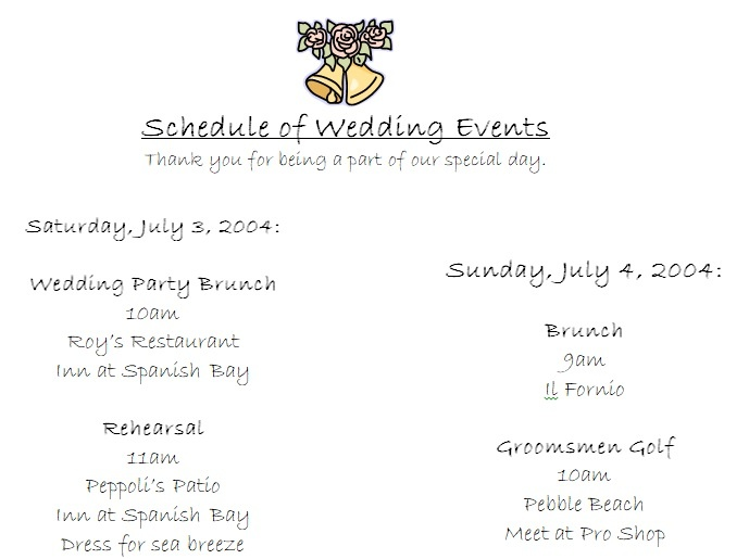 Event Wedding Party Schedule Template
