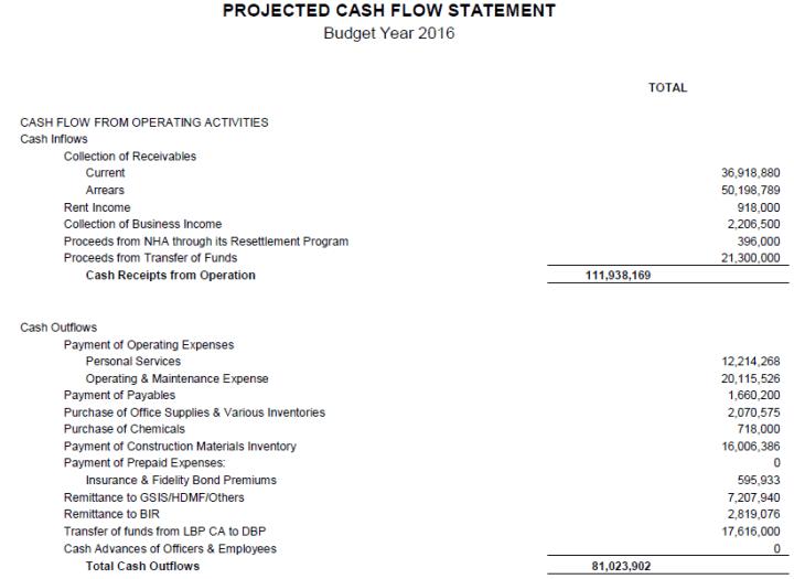 Projected Cash Flow Statement Template