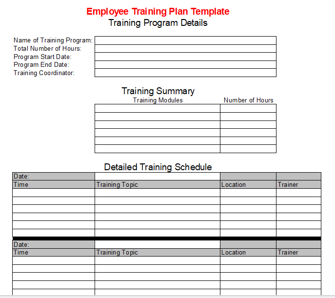 Employee Training Plan Template