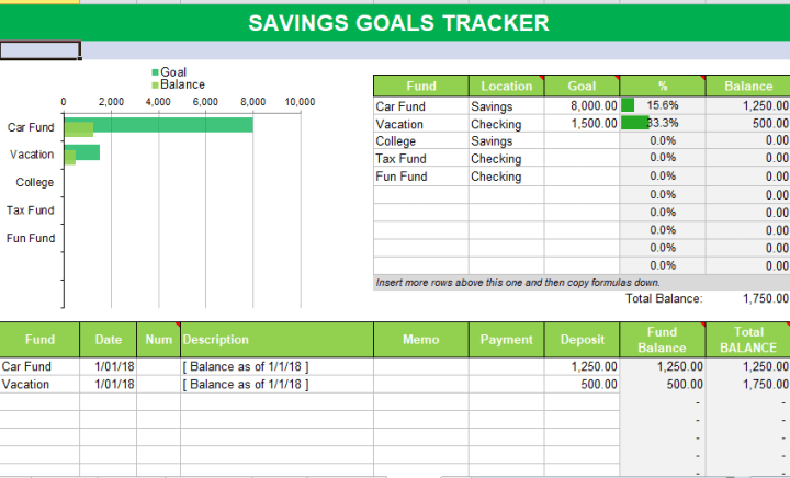 saving goal tracker