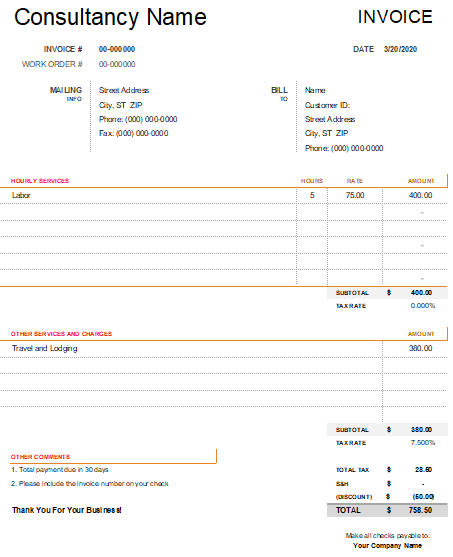 consulting service invoice template