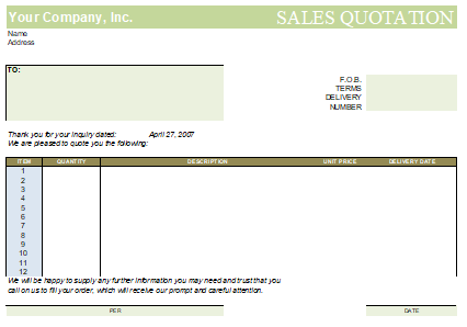 5+ Professional Quote Template in Excel Free Download