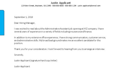 Cover Letter For Admin Assistant