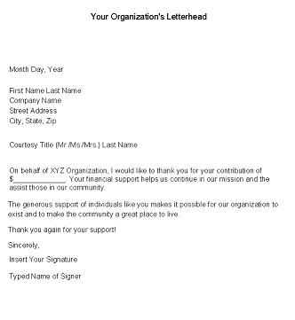Thank you Letter For Financial Donation