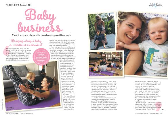 Exercise in the City Founder Julia Scodie featured in Mother & Baby Magazine
