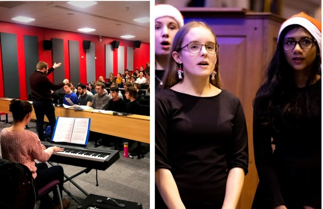 A photo of a choir rehearsal in a lecture theatre and a photo of two people singing in a concert.