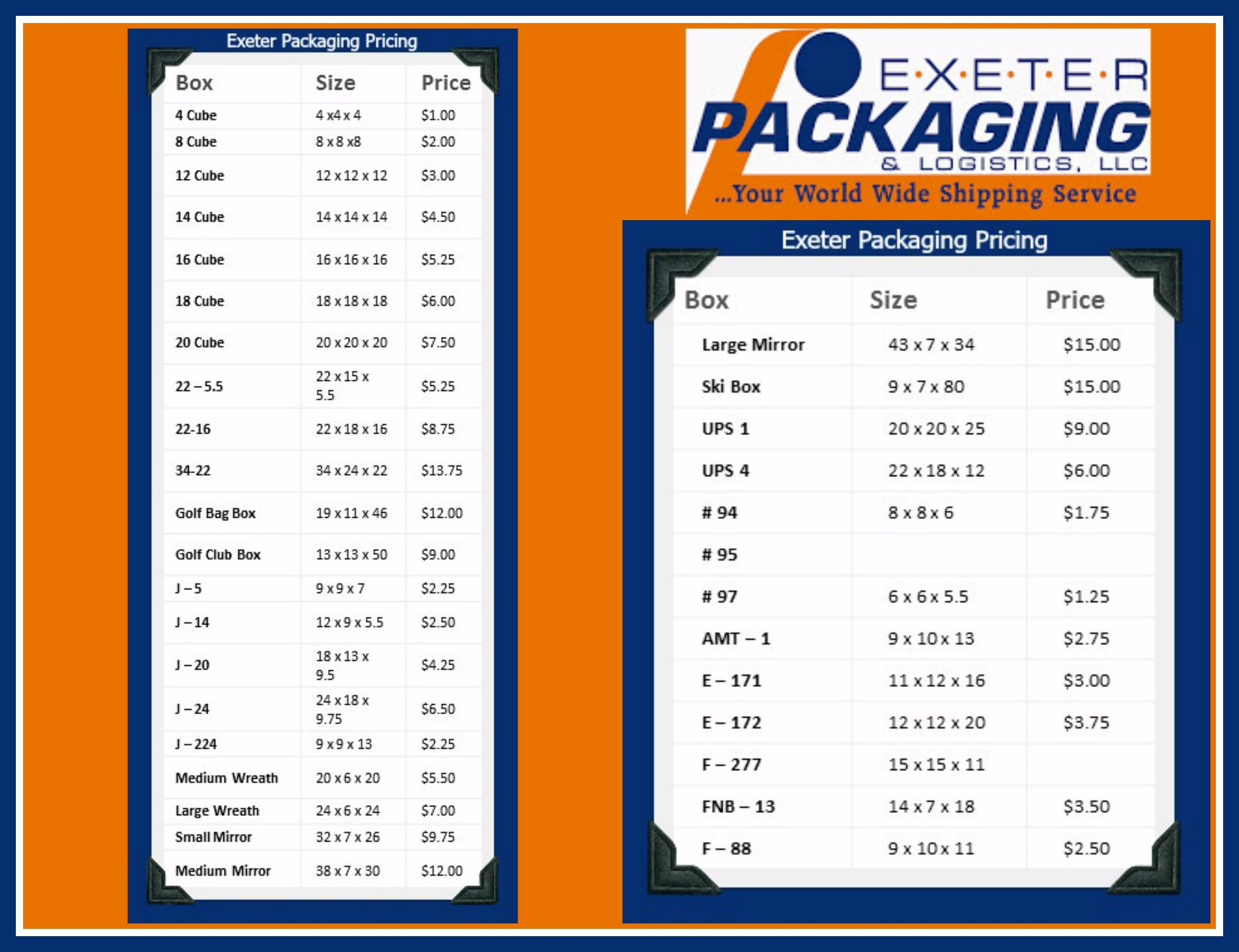 exeter packaging pricing