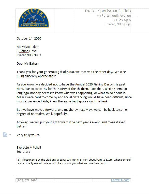 Letter of appreciation to SYlvia Baker