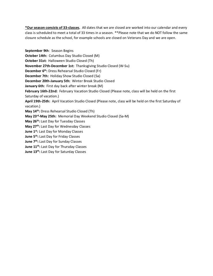 Exhale Schedule