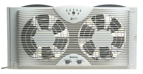 Holmes Reversible Airflow Control Dual Blade Twin Window Fan Water-Resistant
