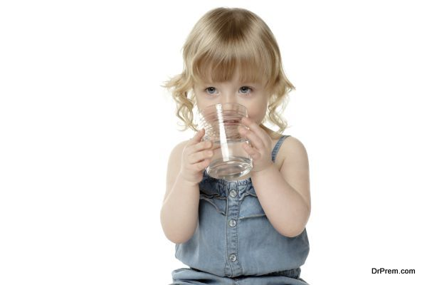 cute girl drinking water