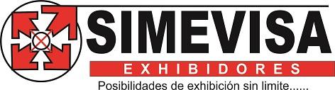Logo Exhibe con Simevisa. Exhibidores. Posibilidades de exhibición sin limite