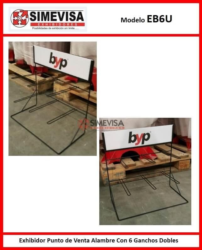 EB6U Exhibidor Punto de Venta Alambre Con 6 Ganchos Dobles
