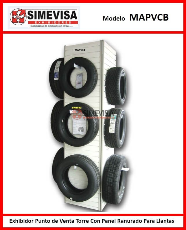 MAPVCB Exhibidor Punto de Venta Torre Con Panel Ranurado Para Llantas