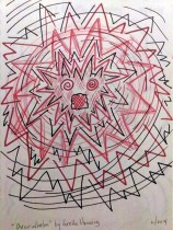 circles of red and black lines and zig zags. Getting closer together and smaller at middle where there are eyes and open mouth
