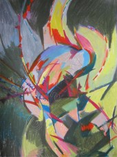 An abstract image of green, yellow blue figure bent over with red lines across