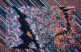 Quilt of greys blues on left moving across to right a black phoenix running from top to bottom, colours of squares behind dark and then brighter.