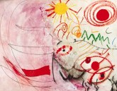 Pink background, with some lines across, face on right hand side, abstract shapes in red where mouth and eye would be, some green and yellow swirls, lines etc and a yellow sun in centre top