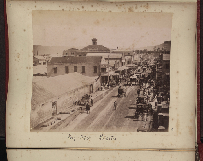 black and white photo of king street, kingston, jamaica