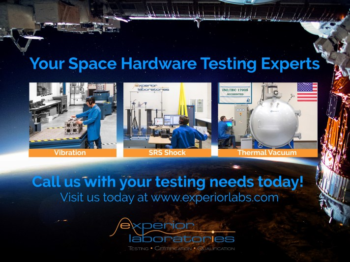Experior Laboratories specializes in creating high-performing and demanding random and direct-field acoustic vibration, Pyroshock, thermal vacuum and accelerated life fast-ramp temperature tests associated with rocket launches and landings, stage separation events, payload deployments and in-orbit satellite and spacecraft operations. All these capabilities are performed in an ISO 8 / Class 100,000 cleanroom environment. Experior Labs has the capabilities and expertise to tackle any size test article and payload, ranging from components to sub-systems to large and heavy full size space craft, satellite, rocket engine, reflector, etc., in our 11,000 square foot dynamics testing facility that offers a 33 foot ceiling height and a 15 ton crane for easy installation and maneuvering of the test article.