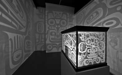 Marianne Nicolson, Bax'wana'tsi: the Container for Souls, 2006. Glass, light, wood. Installation view. Photography by Scott Massey. Image courtesy of the artist.