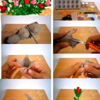 Rosas de cartón de huevos
