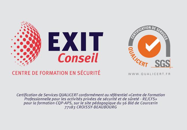 Exit Conseil, centre de formation en Sécurité certifié SGS Qualicert