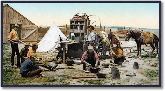 Colorado. The round up, grub pile, between 1898 and 1905