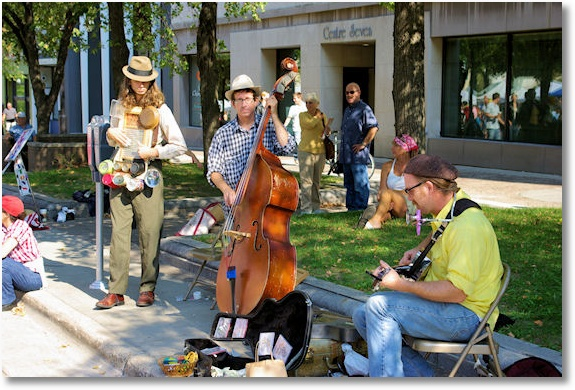 musicians at dane county farmers market on the square, madison, wisconsin