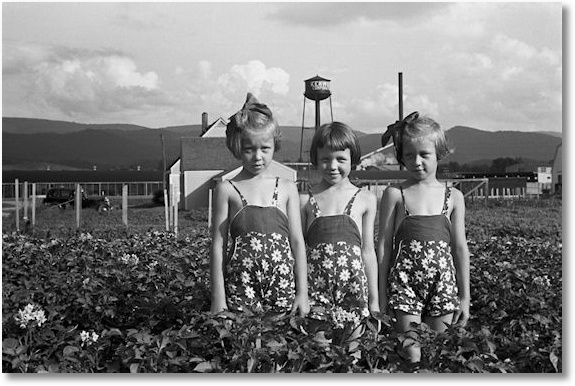 Daughters of a Tygart Valley homesteader. House and factory in backgorund