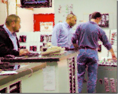 students at a nuclear power plant simulator - photo rendered as a painting.