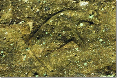 Petroglyph in the cave at Indian Cave State Park