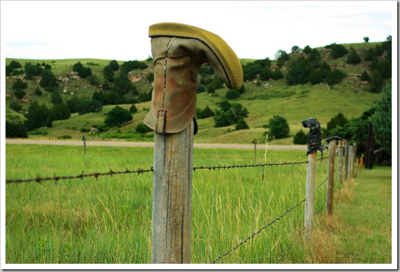 boots on fence posts near Ash Hollow in western Nebraska