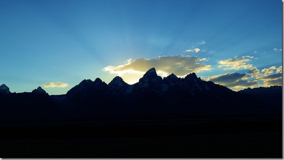 Teton Mountains in evening silhouette
