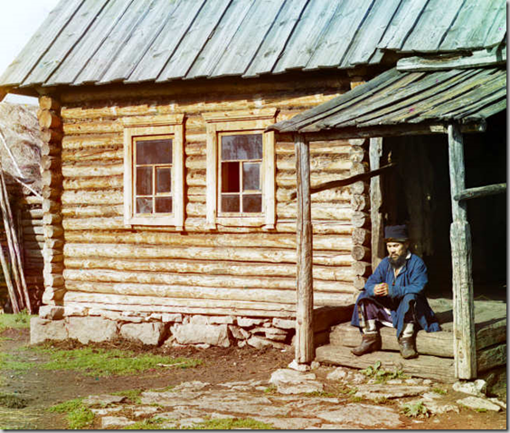 Bashkir near his house. [Ekhia] - Views in the Ural Mountains, survey of industrial area, Russian Empire - Sergei Mikhailovich Prokudin-Gorskii Collection — Lib. of Congress Prints and Photographs Division