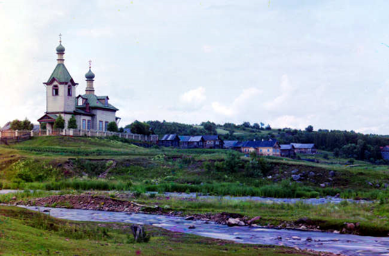 Church of Sts. Zosima and Savvatii of Solovki(?) in the village of Uslanka, Olonets Province - Forms part of: Sergei Mikhailovich Prokudin-Gorskii Collection (Library of Congress).