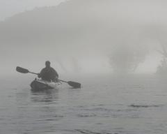 blind paddling in the morning on The White River near Buffalo City, Arkansas.