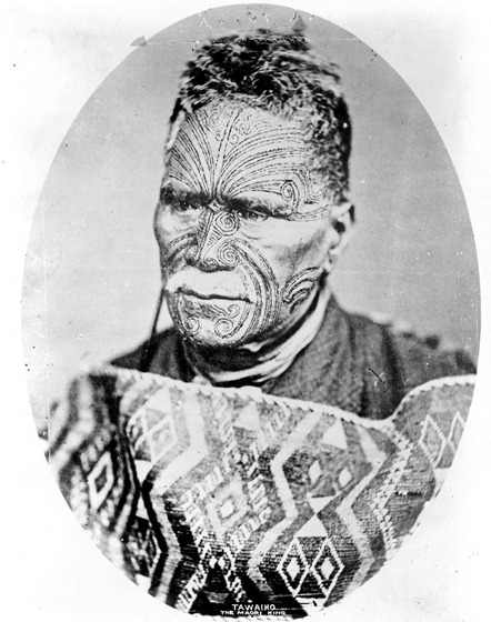 Tawaiho, the Maori king of New Zealand, head-and-shoulders portrait, facing slightly left.