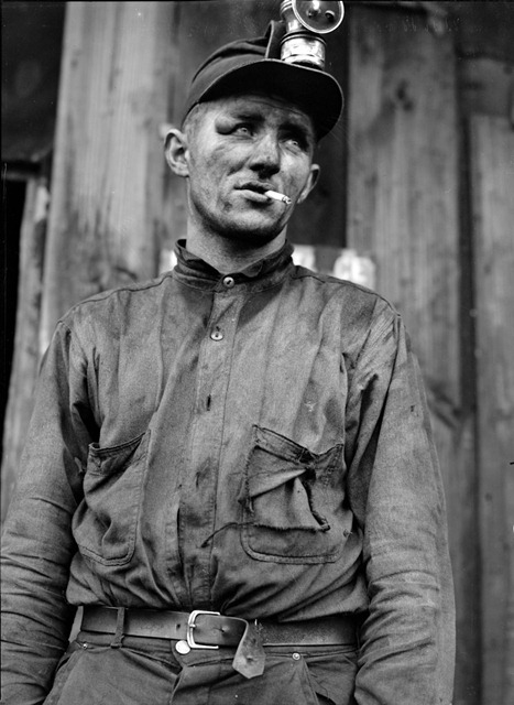 Miner at Dougherty's mine, near Falls Creek, Pennsylvania; photo by Jack Delano