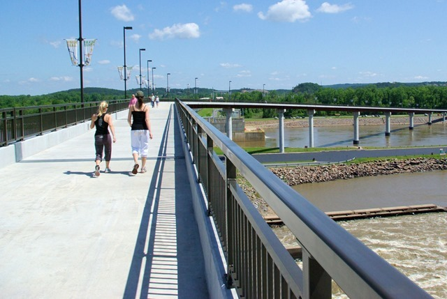 Pulaski County Pedestrian and Bicycle Bridge aka Big Dam Bridge –  April 28, 2007, upstream of Little Rock, Arkansas.