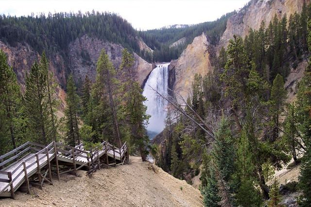 Stairs on Trail to Lookout Point viewpoint for Lower Falls of the Yellowstone and Grand Canyon of the Yellowstone, Yellowstone National Park, Wyoming