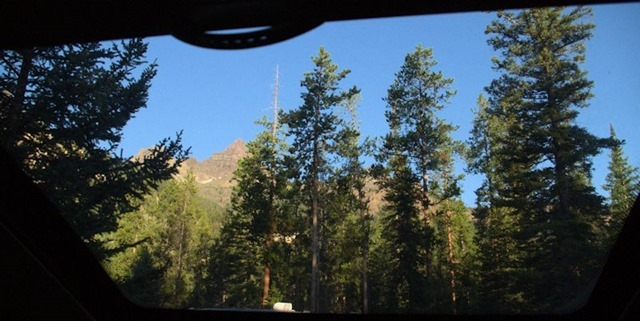 View from inside the camper, standing up, looking out through skylight, Fox Creek Campground, Wyoming, August 15, 2014