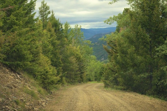 Unpaved road  between interstate highway and ghost town of Garnet, Montana, August 22, 2014