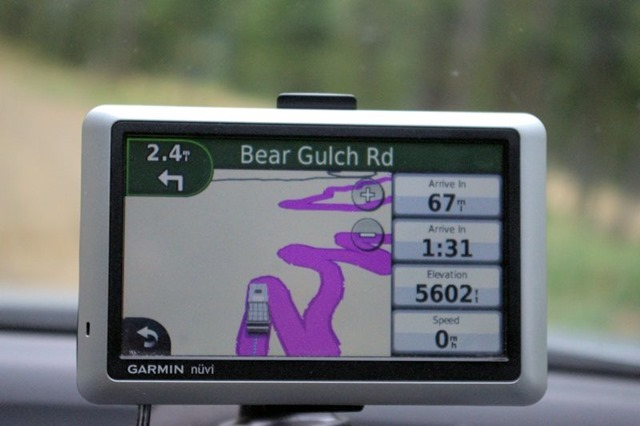 Unpaved road  between interstate highway and ghost town of Garnet, Montana, August 22, 2014